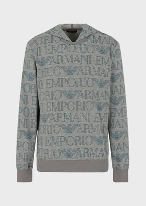 Emporio Armani Sweatshirt With Hood And All-Over Logo
