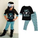 Kemilove 2-6 Years 2PCS Little Girls Outfits T-shirt Tops + Long Pants Clothes Set