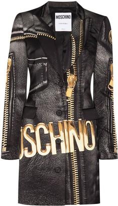 Moschino Macro briker-print blazer dress
