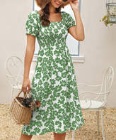 Suvimuga Women's Casual Dresses Green - Green Floral Smocked-Top Convertible Off-Shoulder Dress - Women