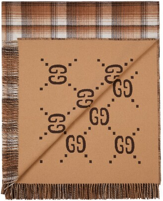 Gucci GG and check throw blanket