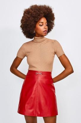 Karen Millen Leather Snaffle Trim Mini Skirt