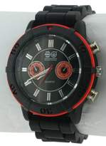 Crosshatch Men's Quartz Watch with Black Dial Analogue Display and Black Silicone Strap CRS34/A