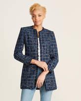 Calvin Klein Tweed Fringe Open Jacket