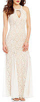 Jump High Keyhole Neck Bead-Draped Back Pattern Lace Long Dress