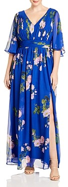 Adrianna Papell Plus Ruched Floral Print Gown