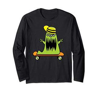 Cool Halloween Monster Skateboarding Long Sleeve T-Shirt