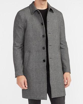 Express Charcoal Plaid Top Coat