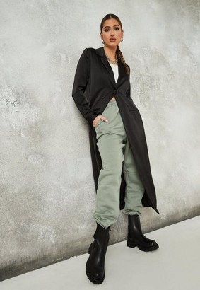 Missguided Black Satin Maxi Duster Jacket