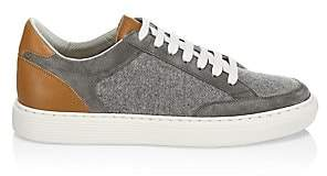 Brunello Cucinelli Men's Mixed Media Leather & Wool Sneakers