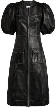 Ganni Leather Puff-Sleeve Midi Dress