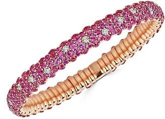 Zydo Stretch 18K Rose Gold, Pink Sapphire & Diamond Bracelet