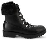Charles David Raider Faux Fur Leather Combat Boots