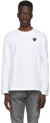 Comme des Garcons White and Black Heart Long Sleeve T-Shirt