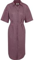 Topshop Tiller Oversized Striped Cotton Shirt Dress - Pink