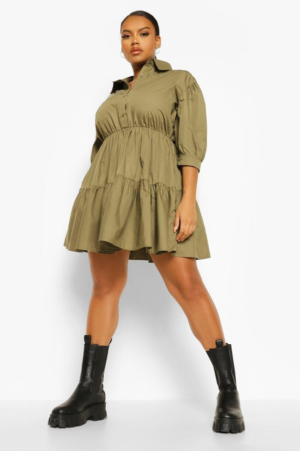 Thumbnail for your product : boohoo Plus Tiered Smock Shirt Dress