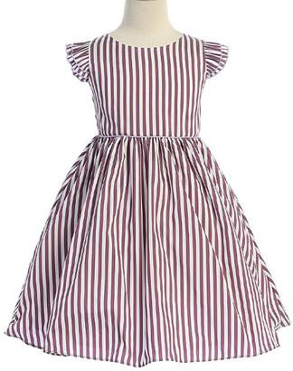 Ellie Kids Girls' Casual Dresses Purple - Purple & White Stripe Angel-Sleeve Dress - Toddler & Girls