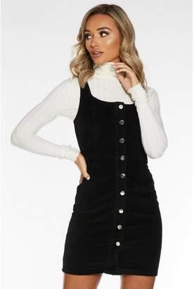 Quiz Black Cord Button Pinafore Dress