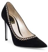 Rene Caovilla Pearl Embellished Leather Pumps