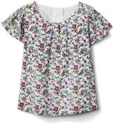 Gap Floral shirred flutter shirt