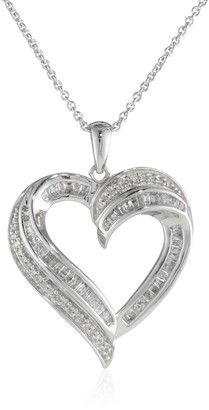 """Amazon Collection Sterling Silver Diamond Heart Pendant Necklace (1/2 cttw) 18"""""""