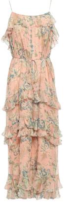 Zimmermann Tiered Floral-print Silk-georgette Midi Dress