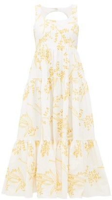 Aje Mimosa Tiered Broderie-anglaise Cotton Midi Dress - Yellow White