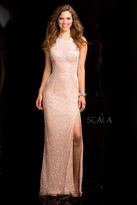 Scala 48564 Open Back Sequin Prom Dress with Side Slit
