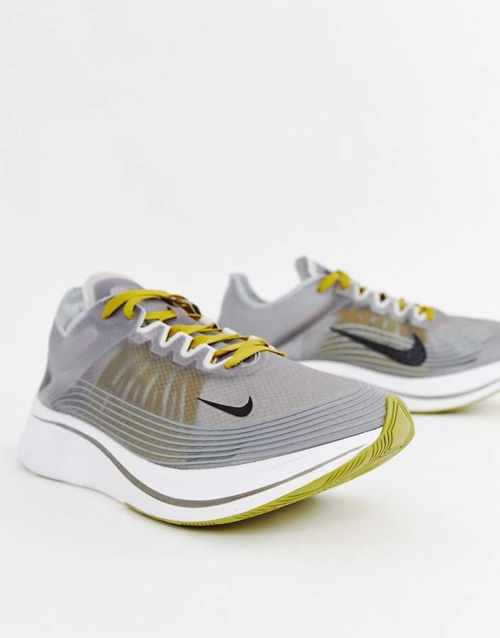 Nike Running Zoom fly sp sneakers in grey aj9282-003