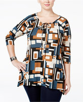 NY Collection Plus Size Lace-Up Printed Top