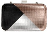 Whiting & Davis Color Block Mesh Box Clutch - Black