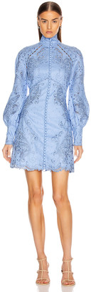 Zimmermann Super Eight Embroidered Mini Dress in Cornflower | FWRD