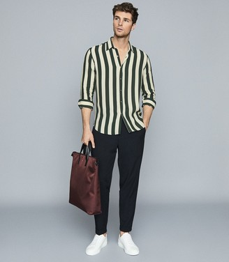 Reiss Retti - Striped Long Sleeved Shirt in Sage