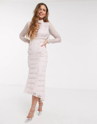 ASOS DESIGN long sleeve lace peplum midi dress with lace up detail in light pink