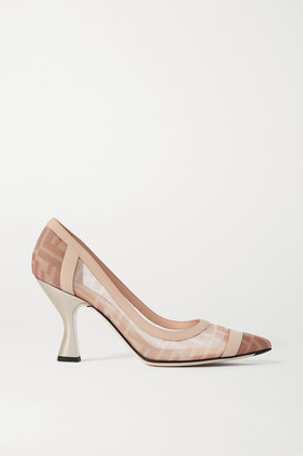 Fendi Colibri Logo-print Mesh And Leather Pumps - Blush