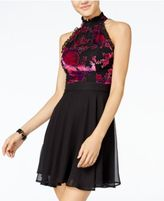 Trixxi Juniors' Mock-Neck Velvet-Trim Dress
