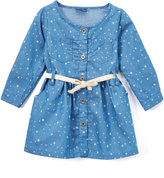 Sweet & Soft Light Blue Denim Star Button-Up Dress - Toddler