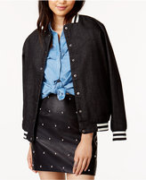 MinkPink Cotton Embroidered Denim Bomber Jacket