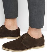 Asos Derby Shoes in Brown Suede With Piped Edging