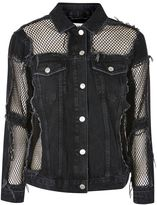 Topshop MOTO Fishnet Detail Oversized Denim Jacket