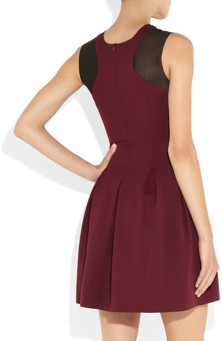 Maje Disquette stretch-jersey and mesh dress