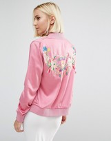 Daisy Street Bomber Jacket With Embroidered Back