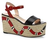 Gucci Barbette Snake Leather Espadrille Platform Wedge Sandals
