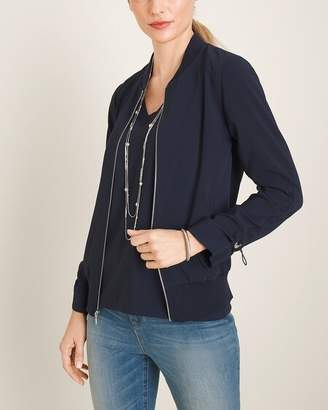 Chico's Chicos Navy Ruched-Sleeve Bomber Jacket