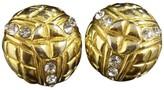 Chanel Gold Tone Metal Rhinestone Clip-On Earrings