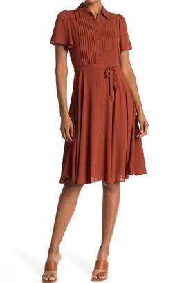 Nanette Nanette Lepore Flutter Sleeve Pintuck Bodice Dress