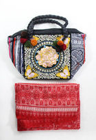 Joelle Gagnard Black Red Lot 2 Printed Scarf Embroidered Satchel Handbag New $145
