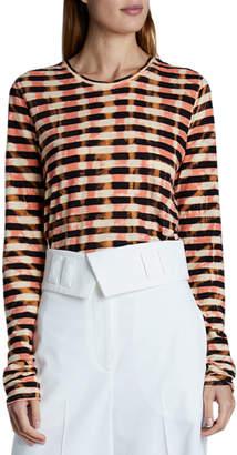 Proenza Schouler Tie-Dye Striped Long-Sleeve Tee