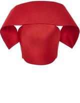 Zac Posen Red Duchesse Satin Cropped Shawl Front Corset