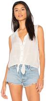 Bella Dahl Tie Front Top in White. - size L (also in M,S)